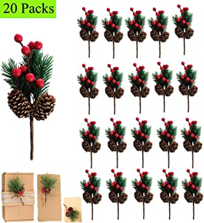 20 Pack Artificial Pine Picks Mini Christmas Red Berries Pinecones for Flower Arrangements Wreaths Wedding Garden Fireplace Holiday Xmas Tree Decorations