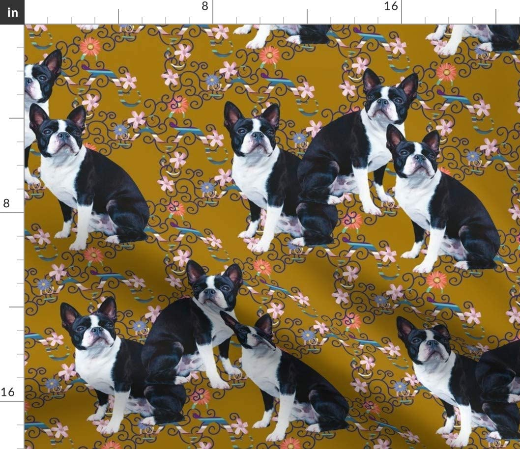 Spoonflower Fabric - Terriers Pattern Terrier Dogs Colorful Blac
