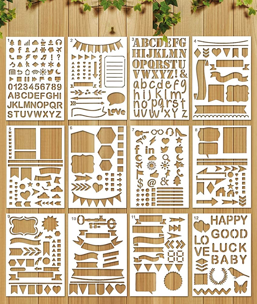 idoobi Painting Stencils Templates for Kids, 5x7 Inch Stencils for Notebook/Scrapbook DIY/Painting (Pack of 24)