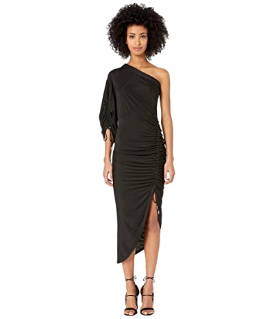YIGAL AZROUEL One Shoulder Dress with Ruched Sleeve (Jet) Women