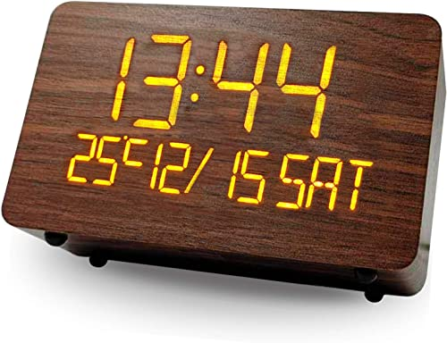 high quality Wooden online Alarm Clock, WANFH Wood Made for Digital Clocks high quality LED Time Display, 2 Alarm Settings,Humidity & Temperature Detect,Snooze,with Non-Slip Mat,Battery Powered,12/24Hr (Brown) sale