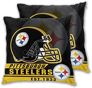Marrytiny Custom Colorful Set of 2 Pillowcase Pittsburgh Steelers American Football Team Bedding Pillow Covers Pillow Cases for Sofa Bedroom Home Decorative - 18x18 Inches
