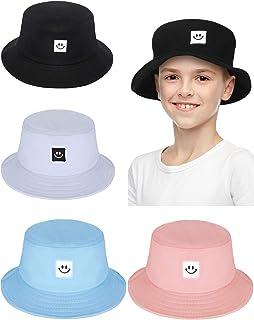 4 Pieces Kids Bucket Hat Smile Face Summer Bucket Hat Travel Beach Bucket Sun Hat for Kids Boys Girls Outdoors