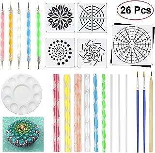 JOFAMY Mandala Dotting Tools 26 Pcs Dots Art Tools for Rock Canvas Painting, Dots Painting Tools Including Acrylic Rods, Mandala Dotting Stencils, Paint Tray, Brushes etc; Perfect Gift for Christmas