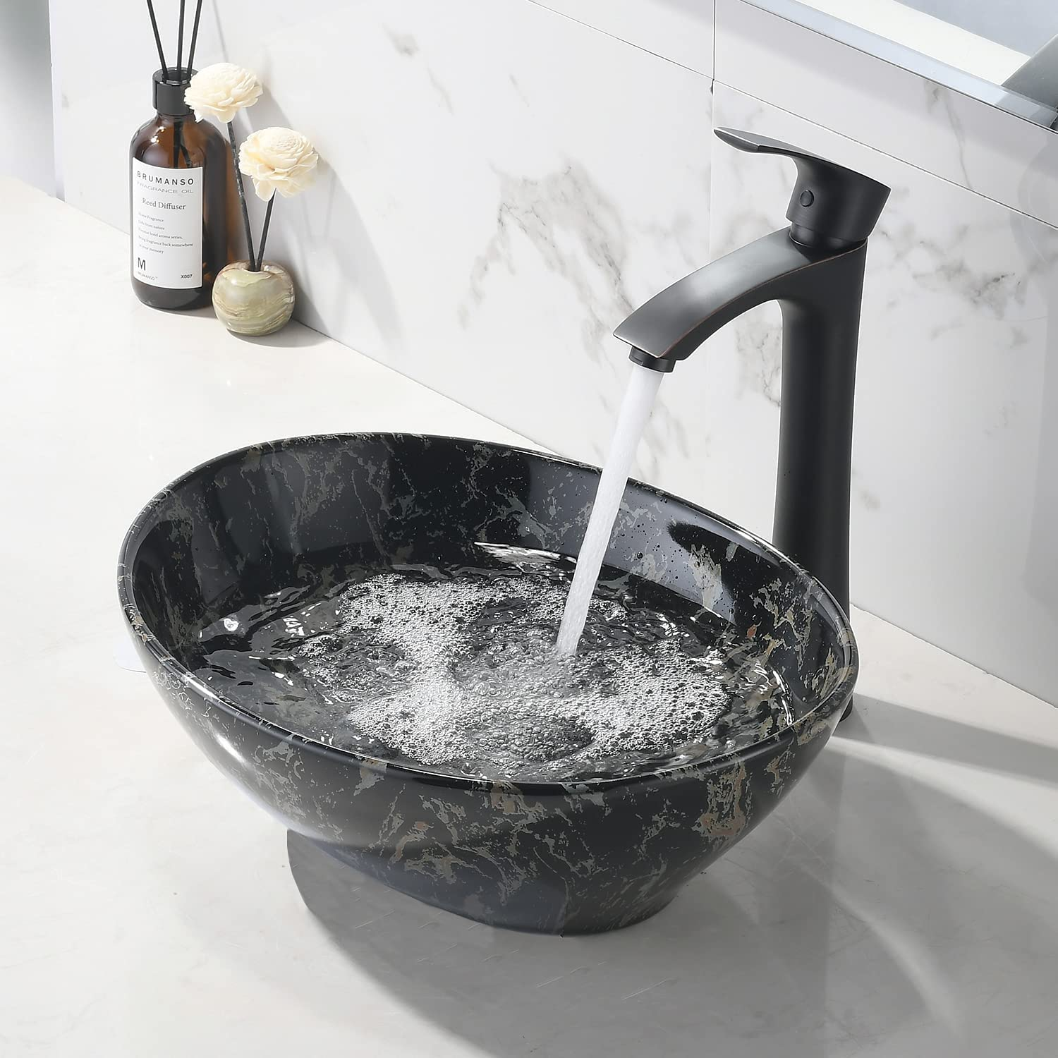 Buy Vokim Oval Marble Ceramic Vessel Sink And Faucet Combo 16 X 13 Modern Egg Shape Above Counter Bathroom Vanity Bowl Hellip Online In Taiwan B0928ndr9l