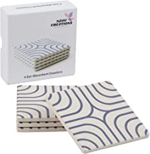 Absorbent Drink Coasters 4 Set Coaster, Ceramic Stone, with Cork backing Protects Furniture from Water Damage, Scratches.Moisture Absorbing Coasters, Gift Boxed, Coasters for all types of Cup Mugs.