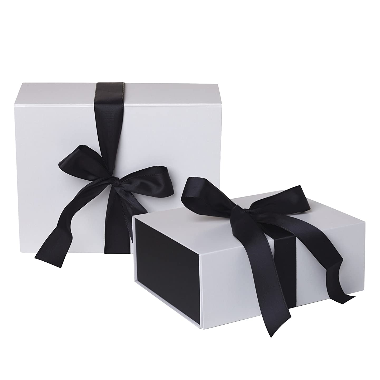 Jillson Roberts 4-Count Small Ribbon-Tie Closure Gift Boxes, Sophisticate White Matte