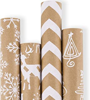 RUSPEPA Christmas Gift Wrapping Paper - Brown Kraft Paper with 3D White Christmas Elements Xmas Designs Print Paper - 4 Roll - 30 Inch x 10Feet Per Roll
