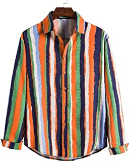 CRYYU Mens Long Sleeve Hipster Stripe Print Contrast Color Button Front Shirts