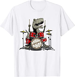 Dinosaur playing drums, Tyrannosaurus or T rex tshirt design
