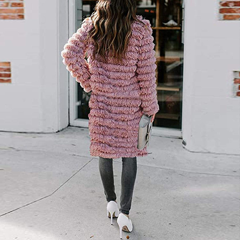 Briskorry Damen Teddy-Fleece Jacken Lang Mantel, Einfarbig Künstliche Wolle Coat Cardigan Outerwear Pink