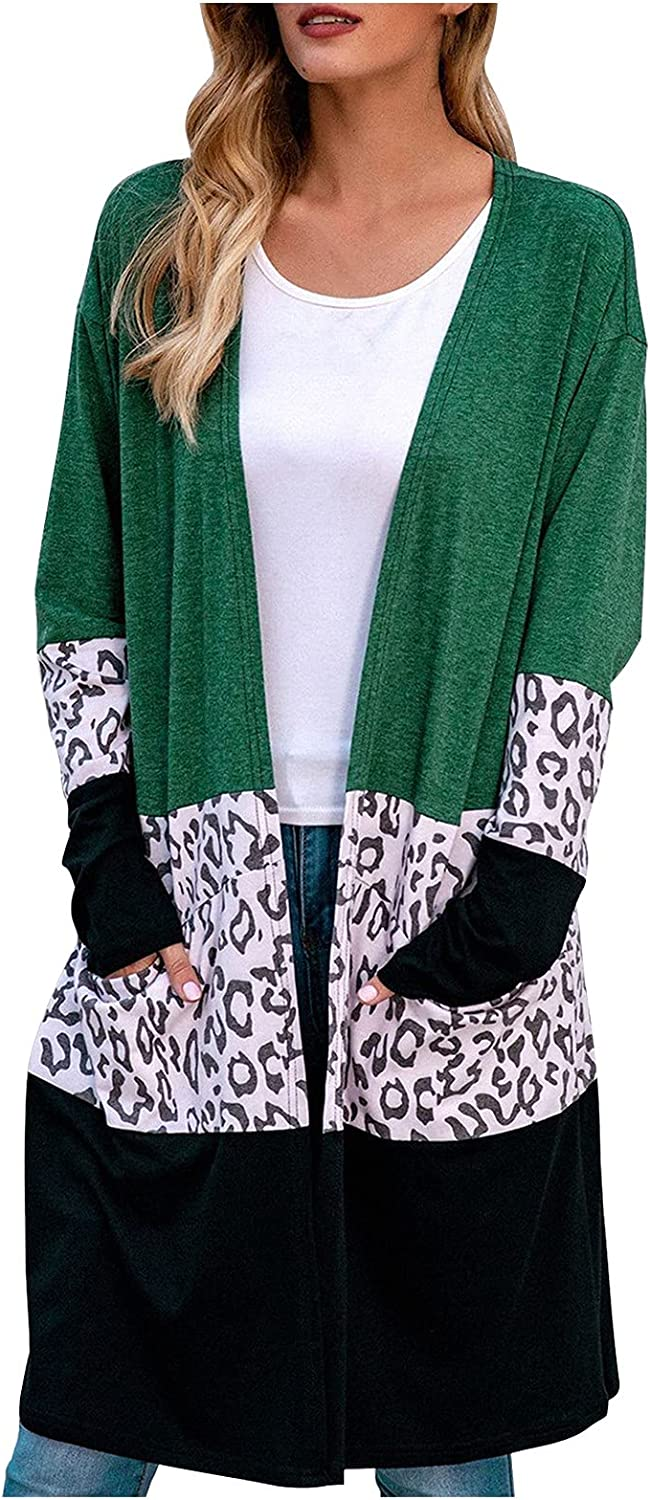 Womens Coats Leopard Print Stitching Long Knitted Sweater Cardigan Sweater