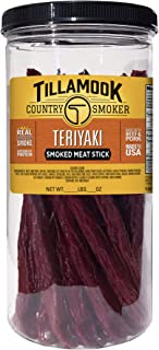 Tillamook Country Smoker All Natural, Real Hardwood Smoked Teriyaki Stick 1lb Resealable Jar, 20 Count