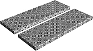 Lunarable Grey and White Bench Cushion Set of 2, Abstract Flowers Mosaic Tile Pattern with Ornate Daisy Petal Outlines, Standard Size Foam Pad and Decorative Cover, 45