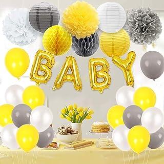 Decoraciones para baby shower en amarillo y gris con globos de letras, decoraciones en papel de seda y papel de seda