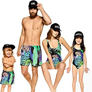 Family Matching Leaves Print Bathing Suit Mom&Girl 1 Piece Sleeveless Backless Swimsuit Dad&Boy Swim Trunks