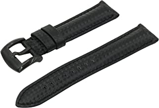 SWISS REIMAGINED Real Leather Carbon Fiber Emboss Replacement Watch Band Signature Black Buckle