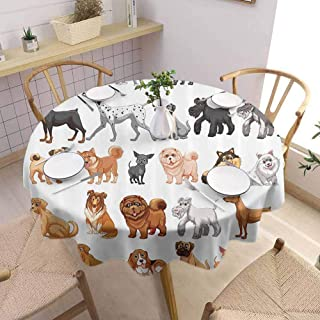 Lgckeg Dog Lover Decor Collection Food Round Tablecloth Different Type of Dogs Small and Big Dalmatian Golden Fur Fluffy Faithful Creature Soft and Smooth Surface Diameter 42 inch Brown Gray