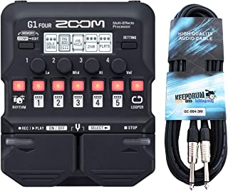 Zoom G1 FOUR - Aparato de efectos para guitarra y cable Keepdrum (3 m)