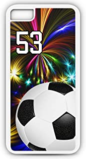 iPhone 7 Plus 7+ Phone Case Soccer SC059Z by TYD Designs in White Rubber Choose Your Own Or Player Jersey Number 53