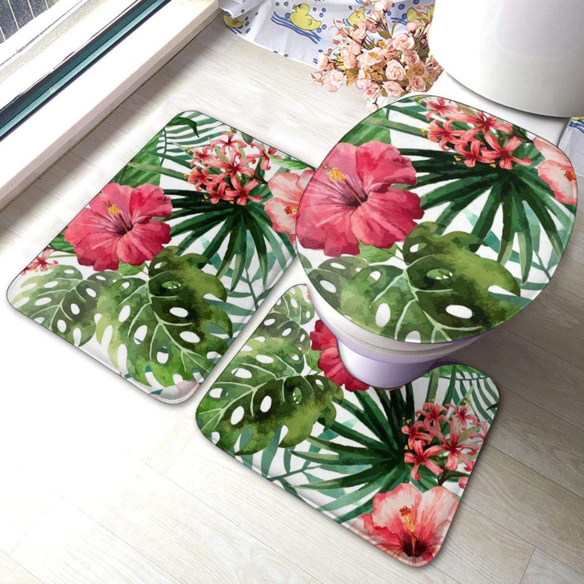 Amazon Com Hibiscus Flower Bathroom Rugs Set 3 Piece Anti Skid Pads Bath Mat U Shaped Contour Toilet Lid Cover Bath Rug Set Kitchen Dining