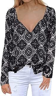 Women's Casual Tops Long Sleeve V Neck Printed Chiffon Blouse Loose Shirts