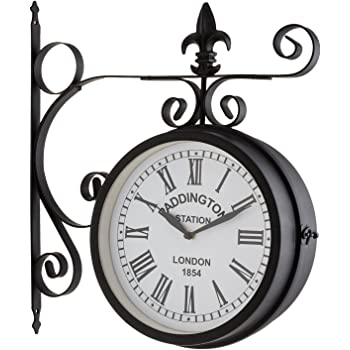 Blumfeldt Paddington Reloj de Pared (diseño Retro Siglo XIX, Esfera estanca 23 cm diámetro, 2 Caras, números Romanos Grandes, Material Resistente Exterior jardín, Carcasa metálica Negro Mate): Amazon.es: Hogar