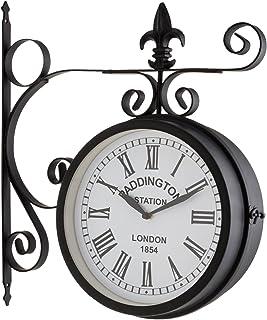 blumfeldt Paddington Uhr Retro-Wanduhr Bahnhofsuhr doppelseitig, schmiedeeisernes Design, 41x45x11cm, römische Zahlen, Batterie-Betrieb, inklusive Wand-Montage-Set schwarz