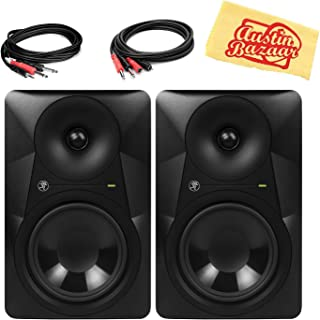 Mackie MR624 6.5-Inch Powered Studio Monitor Bundle with 2 Monitors, Stereo Breakout Cable, 1/4-Inch-to-RCA Cable, and Austin Bazaar Polishing Cloth