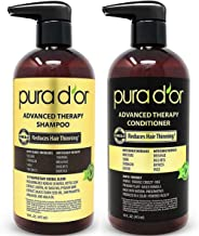 PURA D'OR Advanced Therapy System Shampoo & Conditioner - Increases Volume, Strength and Shine, No Sulfates, Made with Arg...