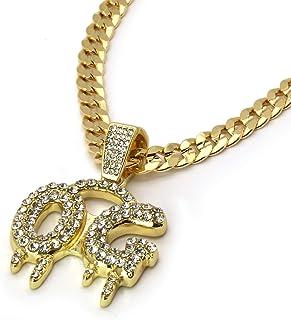 "14k Gold Plated Cz OG Hip Hop Pendant 6mm 24"" Cuban Chain Necklace"
