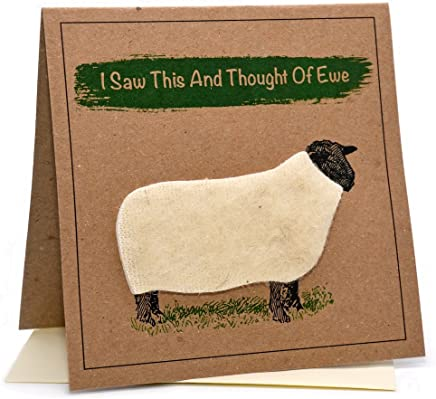 "Lambacraft Sheep Design""I Saw This and Thought of Ewe"" Text Anniversary/Birthday Greeting Card with Blank Inside1 Units"