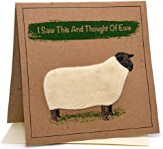 Sheep (I Saw This and Thought of EWE) Greeting Birthday Card (Anniversary/Blank Inside)