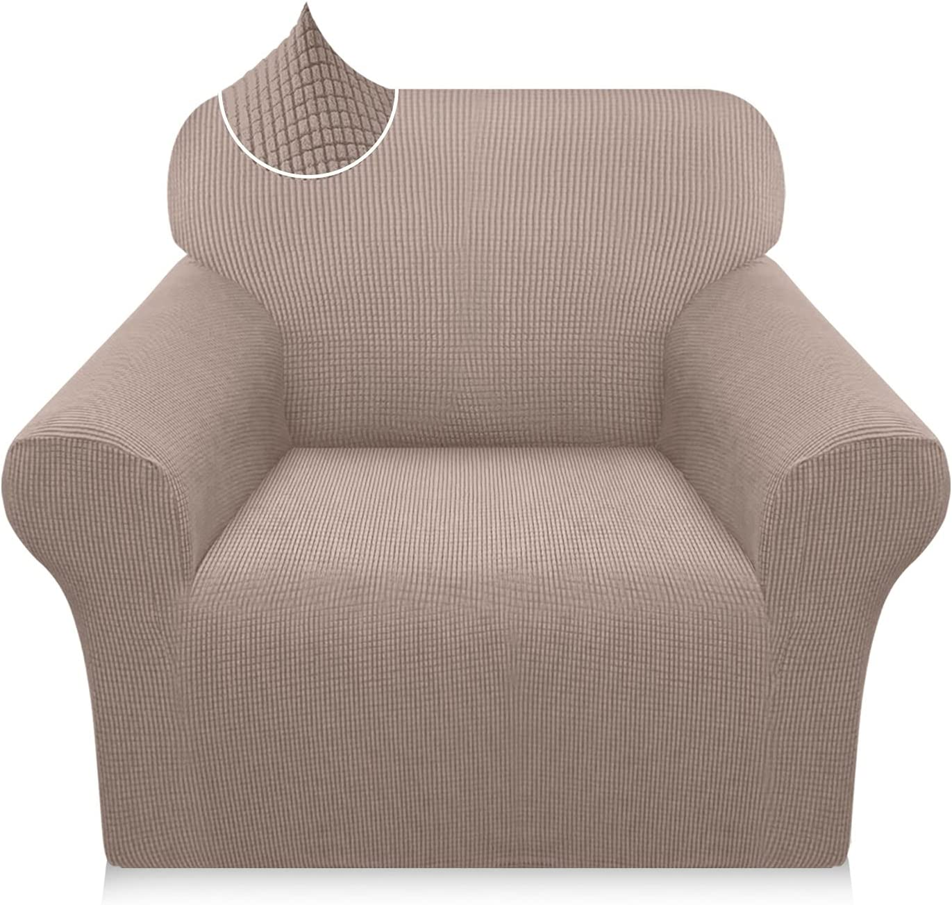 Luxurlife Super Stretch Chair Covers 1 Piece Premium Couch Covers Armchair Slipcover for Living Room Furniture Protector with Non Slip Foam Rollers (Small, Sand)
