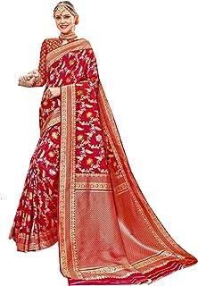 Royal party wedding south indian woman Bridal Silk Saree Red border & Rich Pallu Sari Blouse 304