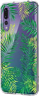 Wouier Compatible with Huawei P20 Pro Case Silicone Clear, Ultra Slim Crystal Transparent Gel Cover Soft TPU Silicone Waterproof Cover for Huawei P20 Pro - Green Leaves White Flowers
