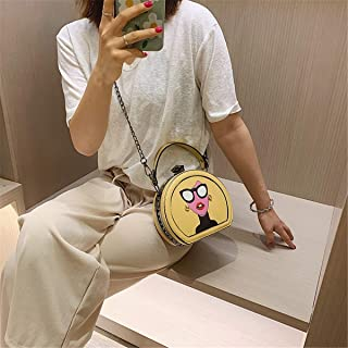ZZZ Chain Shoulder Cute Personality Messenger Trend Portable Funny Cute Handbags Cartoon Printed fashion (Color : Yellow)