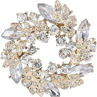 Austrian Crystal Wedding Flower Wreath Brooch Pin
