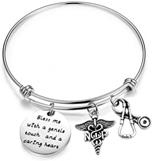 NP Bracelet Nurse Practitioner Bracelet Bless Me with A Gentle Touch and A Caring Heart Charm Jewelry NP Graduation Gift