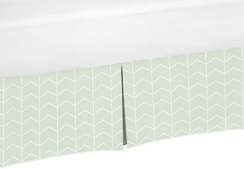 Sweet Jojo Designs Mint And White Chevron Arrow Pleated Toddler Bed Skirt Dust Ruffle For Watercolor Elephant Safari Collection