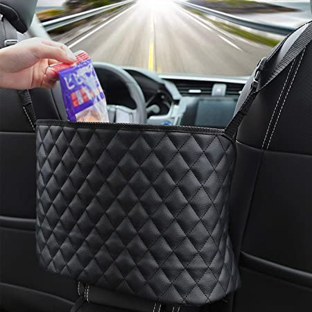 Front Seat Storage for Handbag Purse Tissue Phone Pet Barrier BAOWA Car Net Pocket Handbag Holder Standard, Black Car Mesh Organizer Car Net Pocket Organizer
