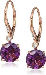 Womens 14K Rose Gold Amethyst Drop Earrings, Purple, One Size