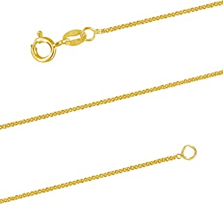 14kt Yellow Gold Plated Sterling Silver 1.3mm Cable Chain Necklace Solid Italian Nickel-Free, 15-24 Inch