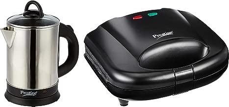 Prestige PKGSS 1.7L 1500W Electric Kettle (Stainless Steel) + Prestige PGMFB 800 Watt Grill Sandwich Toaster with Fixed Grill Plates,Black