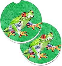Caroline's Treasures Frog Set of 2 Cup Holder Car Coasters 8688CARC, 2.56, Multicolor
