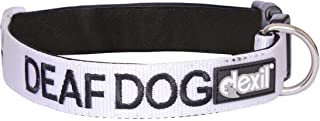 DEAF DOG White Color Coded S-M L-XL Buckle Dog Collars (No/Limited Hearing) PREVENTS Accidents By Warning Others of Your Dog in Advance