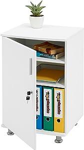 Piranha Trading Armario y Gabinete de Almacenamiento y Extensión para Escritorios y Mesas de Ordenador Melamina Efecto Madera Blanca PC 4 Bowfin