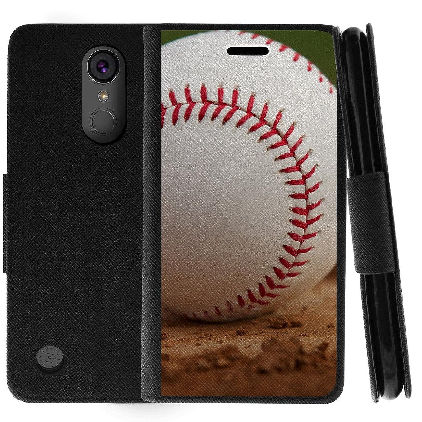 TurtleArmor | Compatible for LG K20 V Case | K20 Plus Case | K10 2017 Case | Flip Kickstand Wallet Case Cover with Card Slots Sports and Games Design - Baseball Dirt