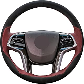 Mewant Tailor Made Wine Red Suede Wine Red Leather Hand Sewing Leather Steering Wheel Covers for Cadillac SRX 2013-2015 XTS 2013-2017