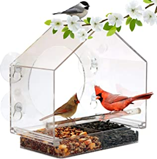 Window Bird House Feeder by Nature Anywhere with Sliding Seed Holder and 4 Extra Strong Suction Cups. Large Bird feeders f...